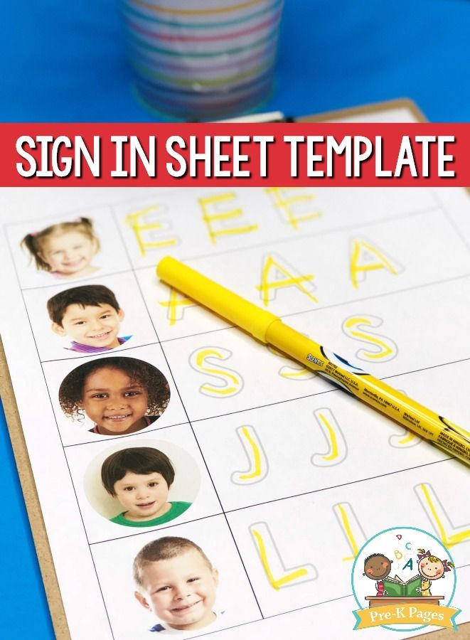 Free Daily Sign In Sheet for Preschool Classroom stuff Pinterest - Sign Sheet Template