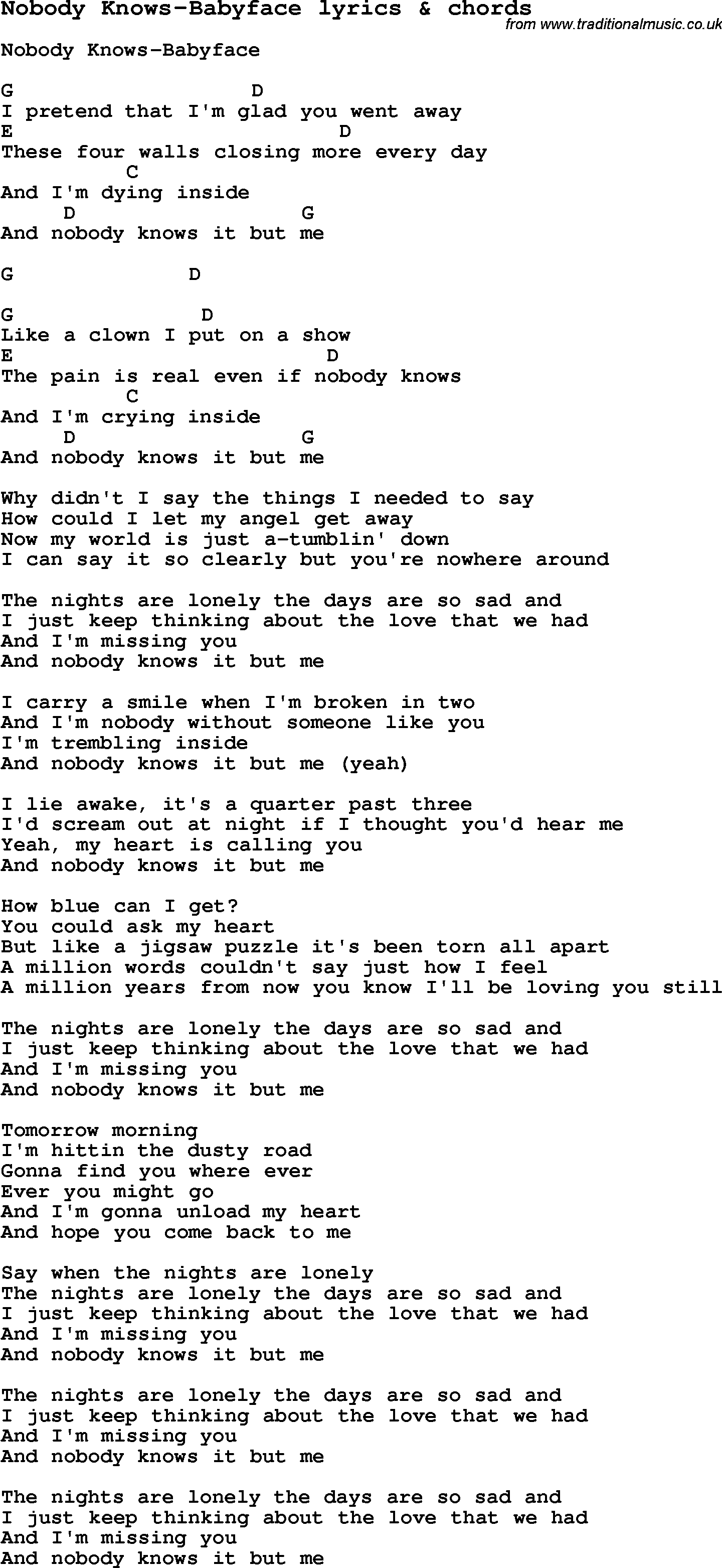 Love Song Lyrics For Nobody Knows Babyface With Chords For Ukulele