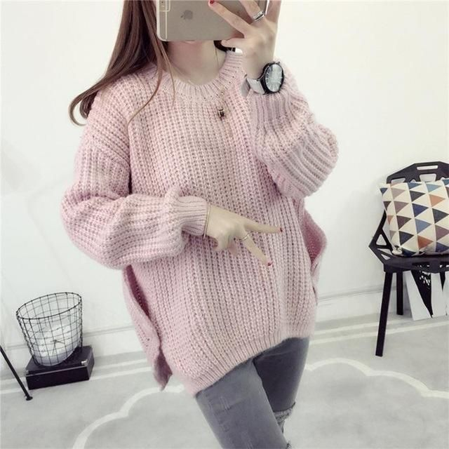Women Korean Style Side Buttoned Asymmetrical Sweater Femme Lantern Sleeve Knitted Beige Pullovers Knitwear 2016 Winter SW59