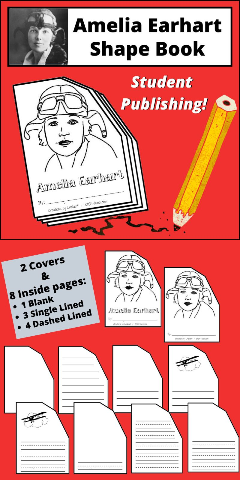 Amelia earhart shape book amelia earhart shape books