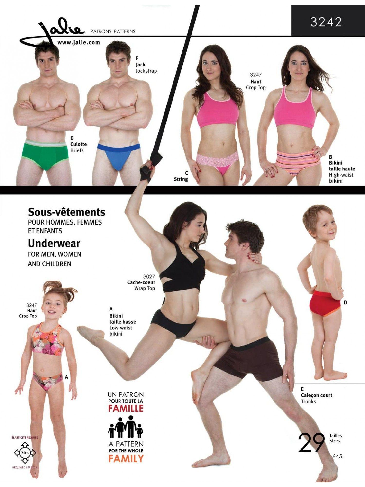 Jalie 3242 - Underwear Pattern for Children, Men and Women | mes ...
