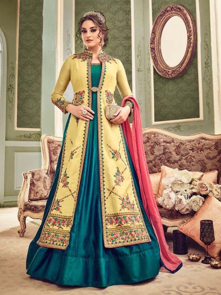 793cf79211  Designer  ethnic  Party wear  Floor Length  Salwar  Kameez  Jacket Style   Dress  Online  Handmade  SalwarKameez