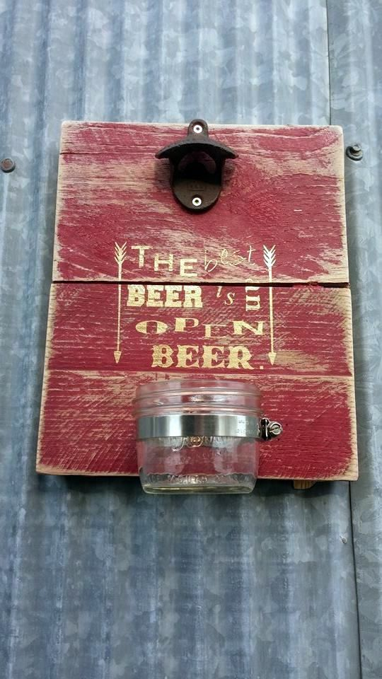 Personalized Wall Mount Beer Bottle Opener With Mason Jar Cap Catcher Groomsman Gift Pallet