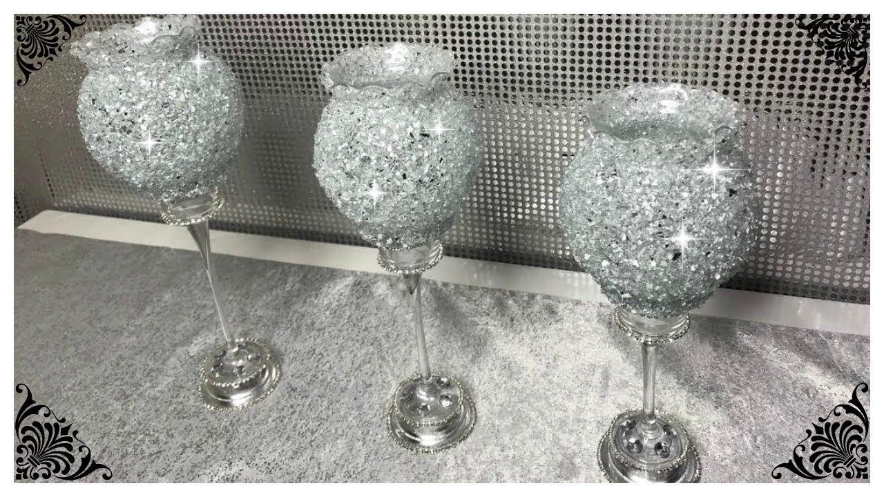 Diy crushed glass bling dollar tree candle holders centre