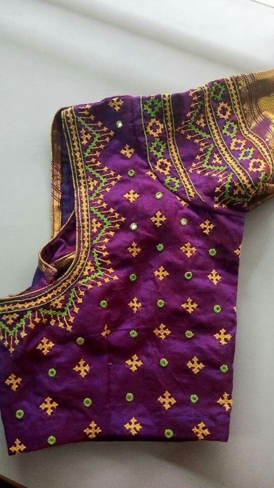 Lovely blouse with cross stitch   sarees   Pinterest   Trajes de ...
