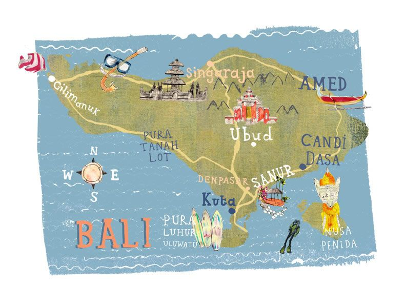 Kate evans map of bali illustrated maps pinterest kate evans map of bali gumiabroncs Gallery