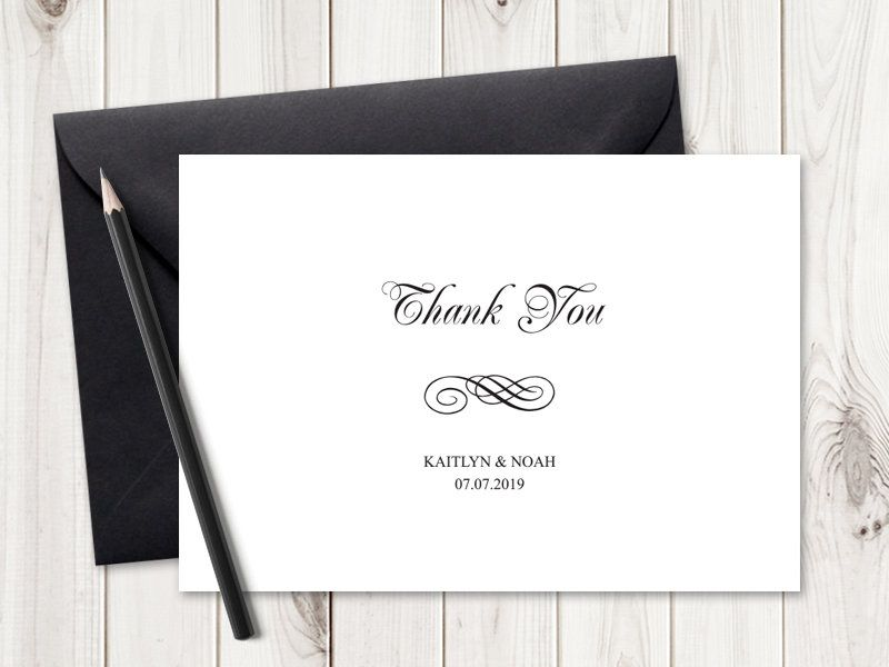 Printable Wedding Thank You Card Template Simple Etsy Thank You Card Template Printable Thank You Cards Thank You Cards