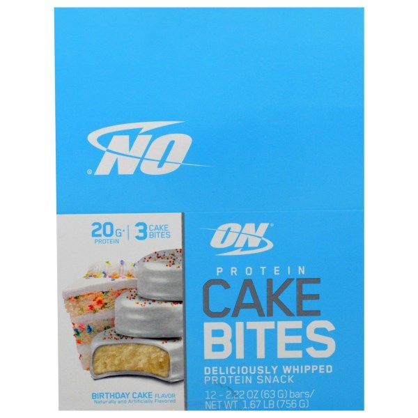 Optimum Nutrition Protein Cake Bites Birthday 12 Bars 222 Oz 63 G Each