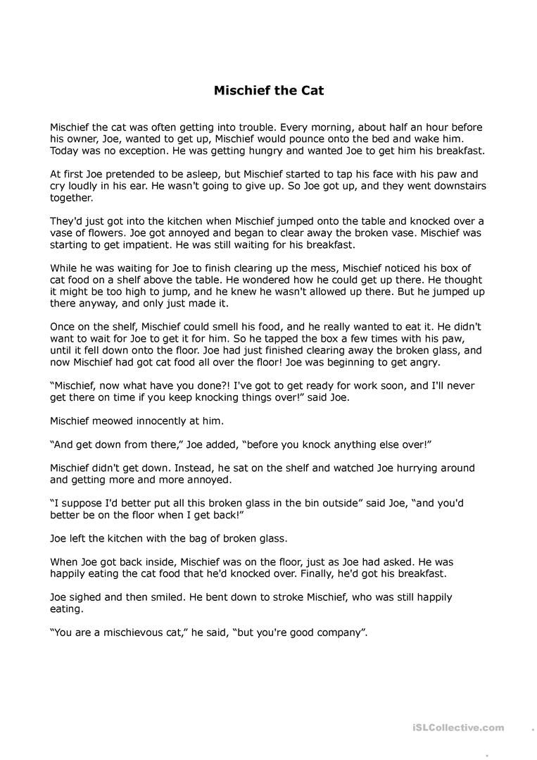 - Mischief The Cat (A Short Story) (With Images) Short Stories