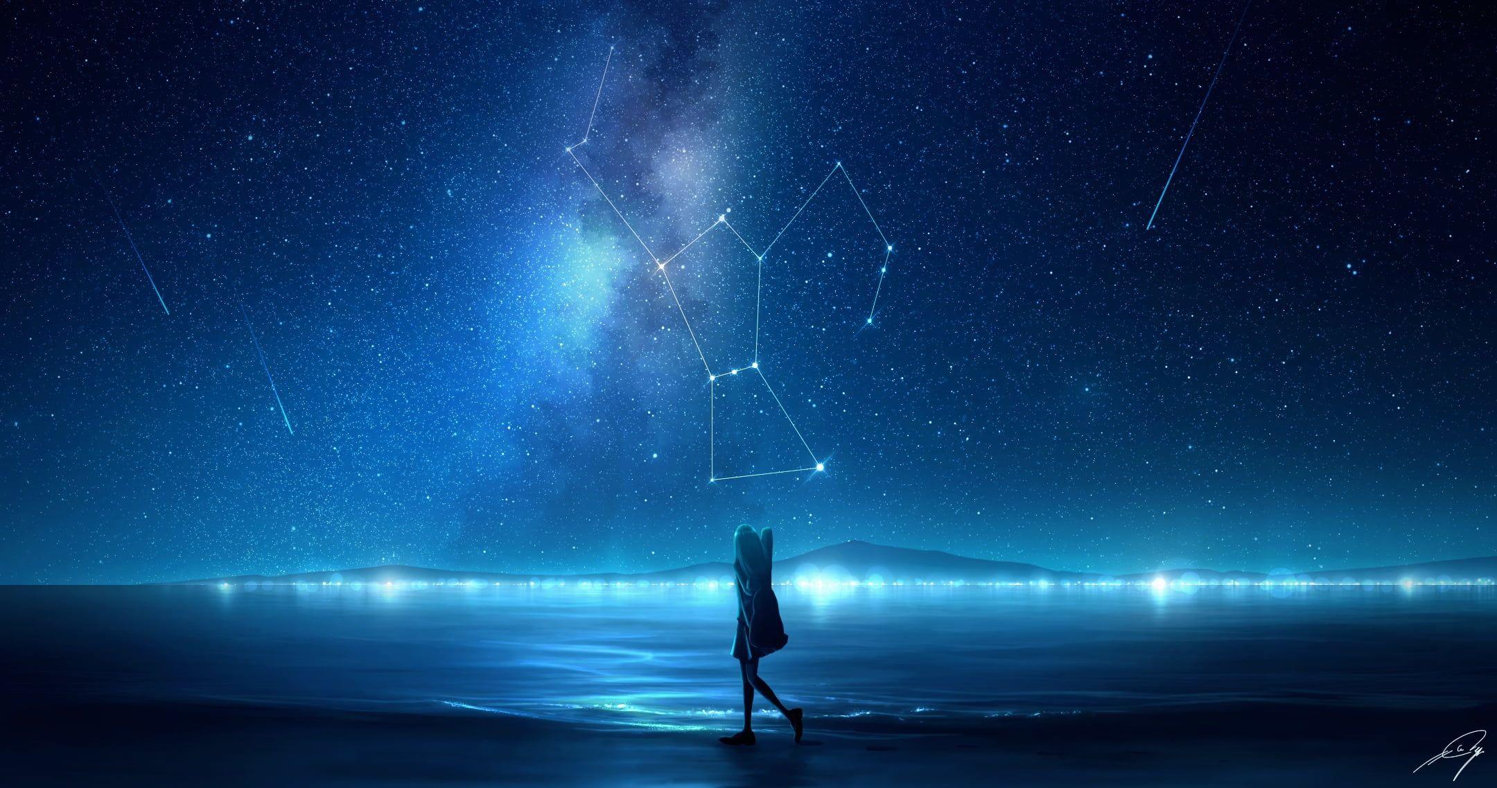 Anime Anime Girls Digital Digital Art Artwork Night Anime Sky Sky Stars Starry Night Lights Milky Way Sky Night Sky Wallpaper Sky Anime Anime Wallpaper