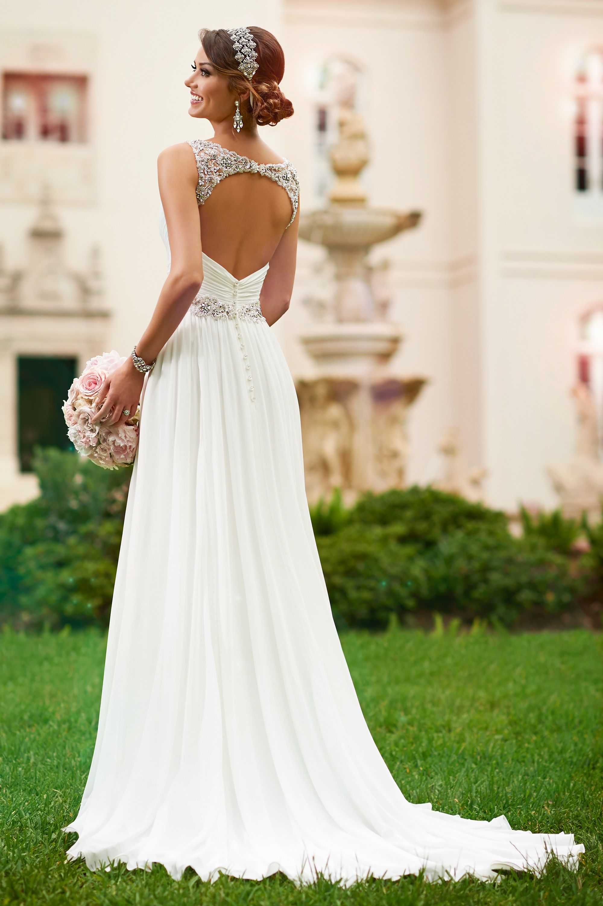 Simple Stella York designer wedding dress site to find it on http