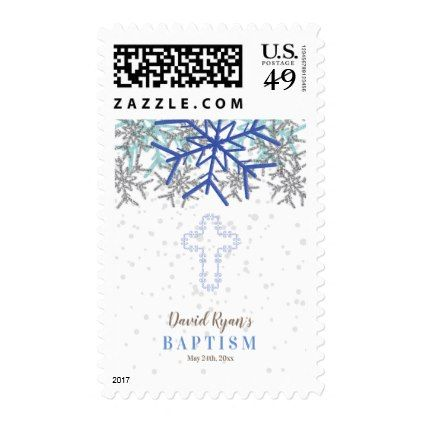 Winter Silver Navy Blue Snowflake Baptism Invite Postage