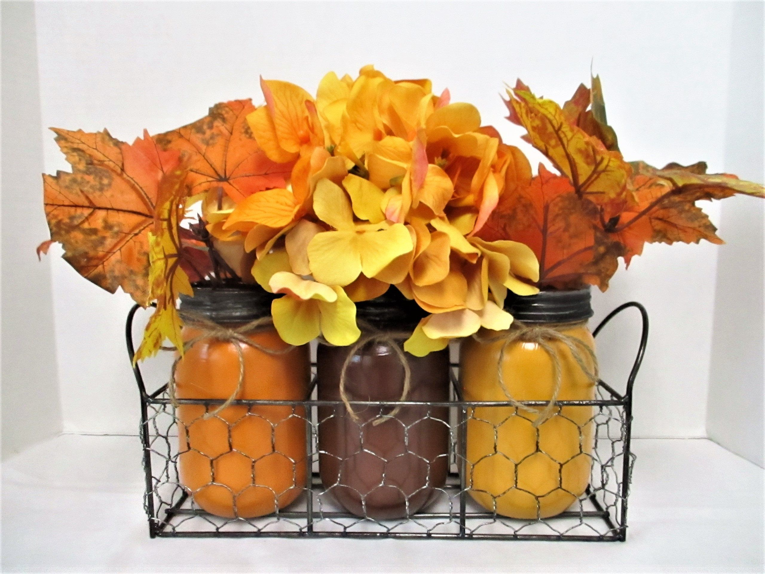 Fall centerpiece flower arrangement fall mason jar decor