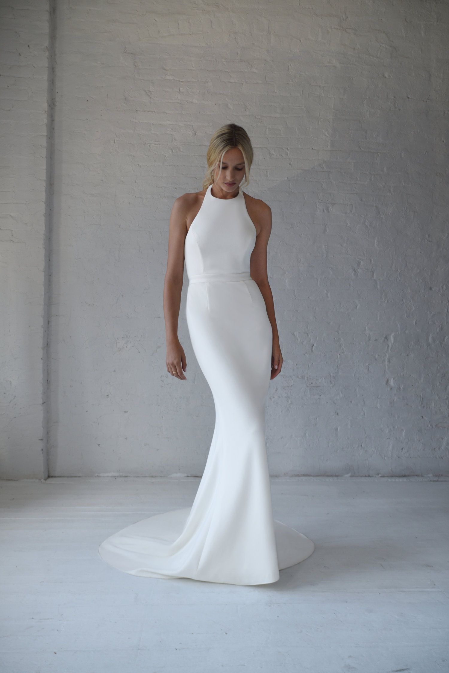 Modern And Sleek White Wedding Dress In Light Weight Stretchy Scuba Material Perfect For