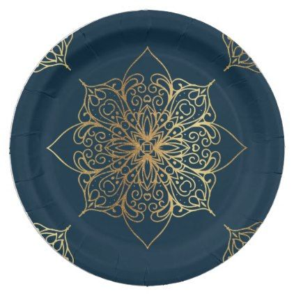 Gold Mandala Damask Pattern Paper Plate - kitchen gifts diy ideas decor special unique inidual customized  sc 1 st  Pinterest & Gold Mandala Damask Pattern Paper Plate | Damasks