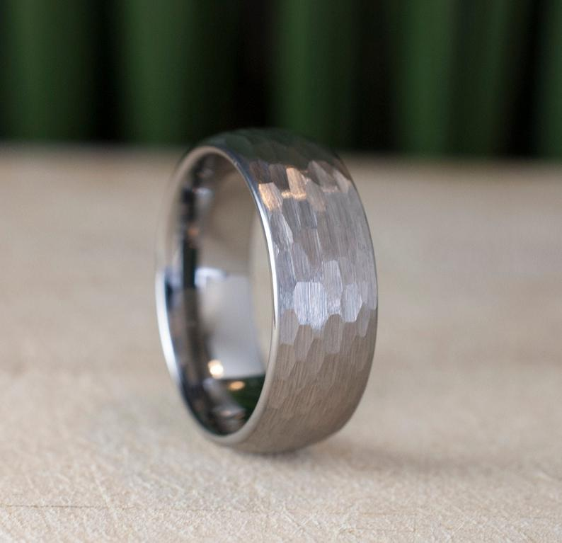 Hammered Tungsten Ring 8mm Grey Brushed Men Wedding Band Male Etsy Hammered Tungsten Ring Mens Wedding Bands Tungsten Ring