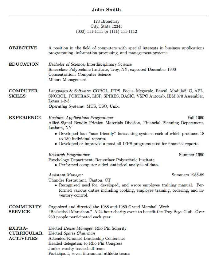 Academic Cv Sample For Masters Application