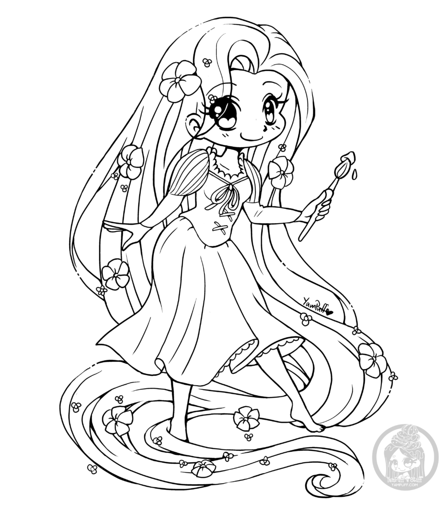 Disney Rapunzel Chibi Lineart By Yampuff Chibi Coloring Pages Disney Princess Coloring Pages Princess Coloring Pages
