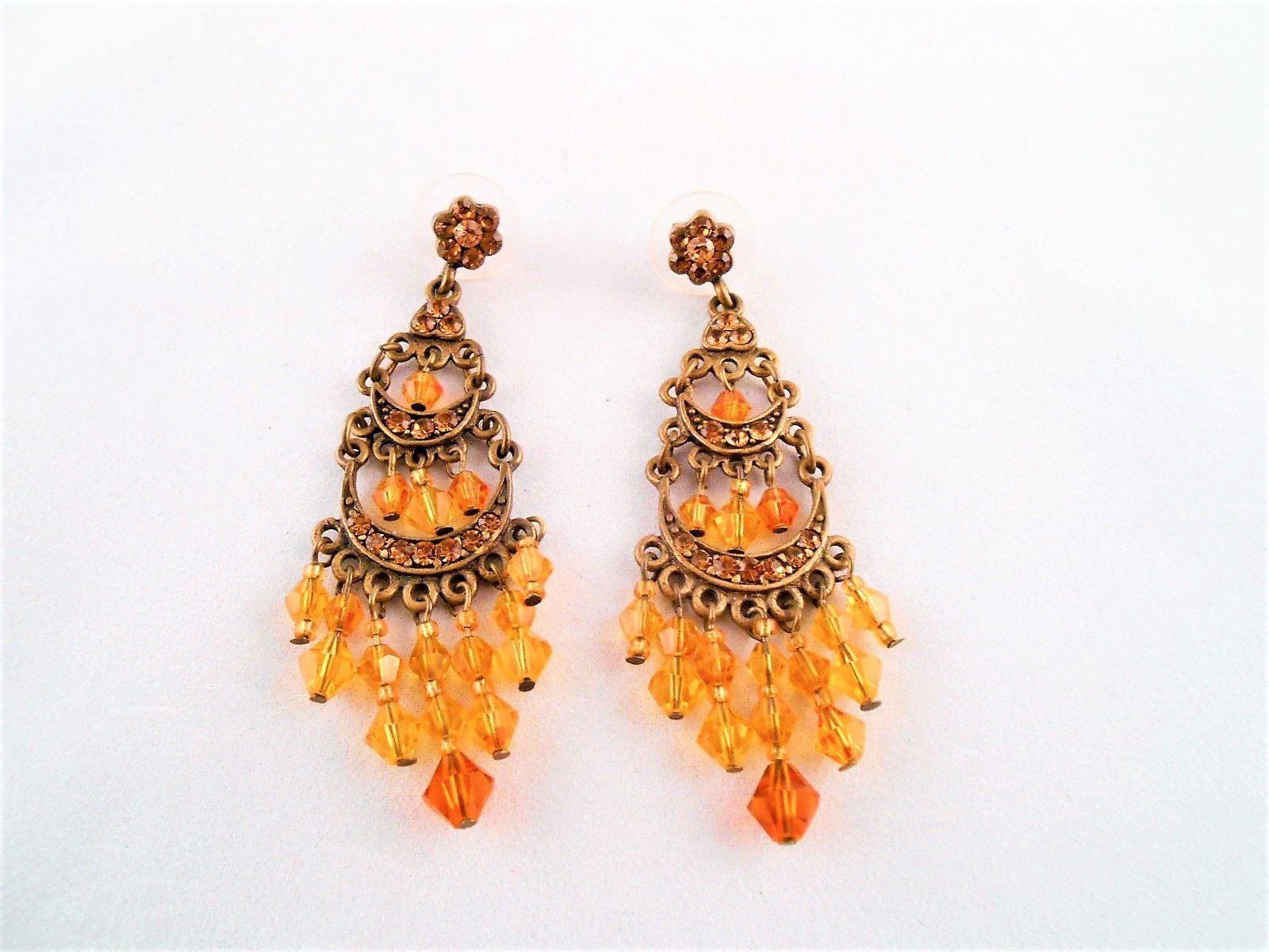 3 tiered chandelier vtg earrings w dangling golden amber beads 275 3 tiered chandelier vtg earrings w dangling golden amber beads 275 aloadofball Image collections