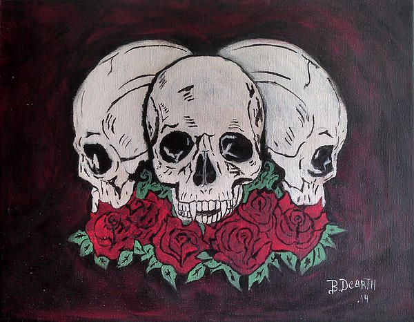 skulls and roses painting by Brian Dearth