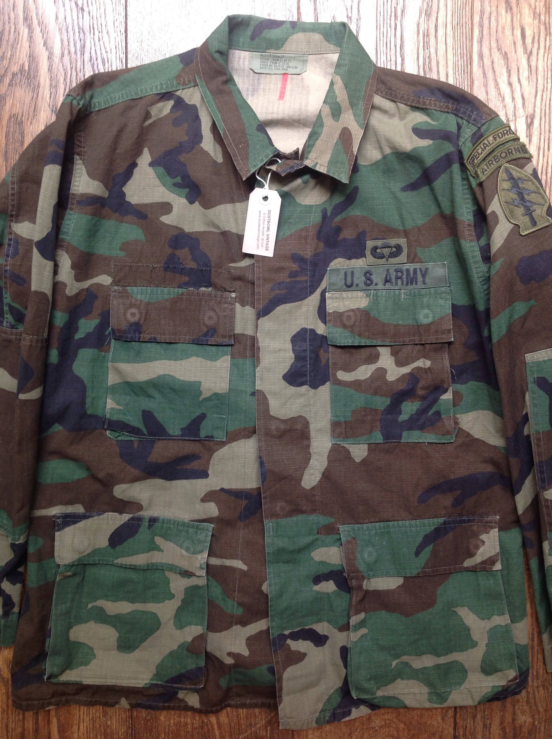 c11ff9041f0 Vintage 1980s 80s US army airborne special forces rip stop camo camouflage  field jacket 48