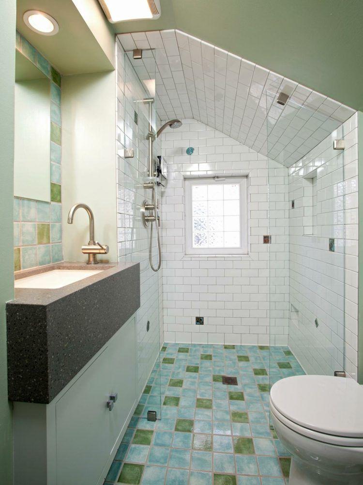 Peinture carrelage salle de bain \u2013 idées de motifs et couleurs