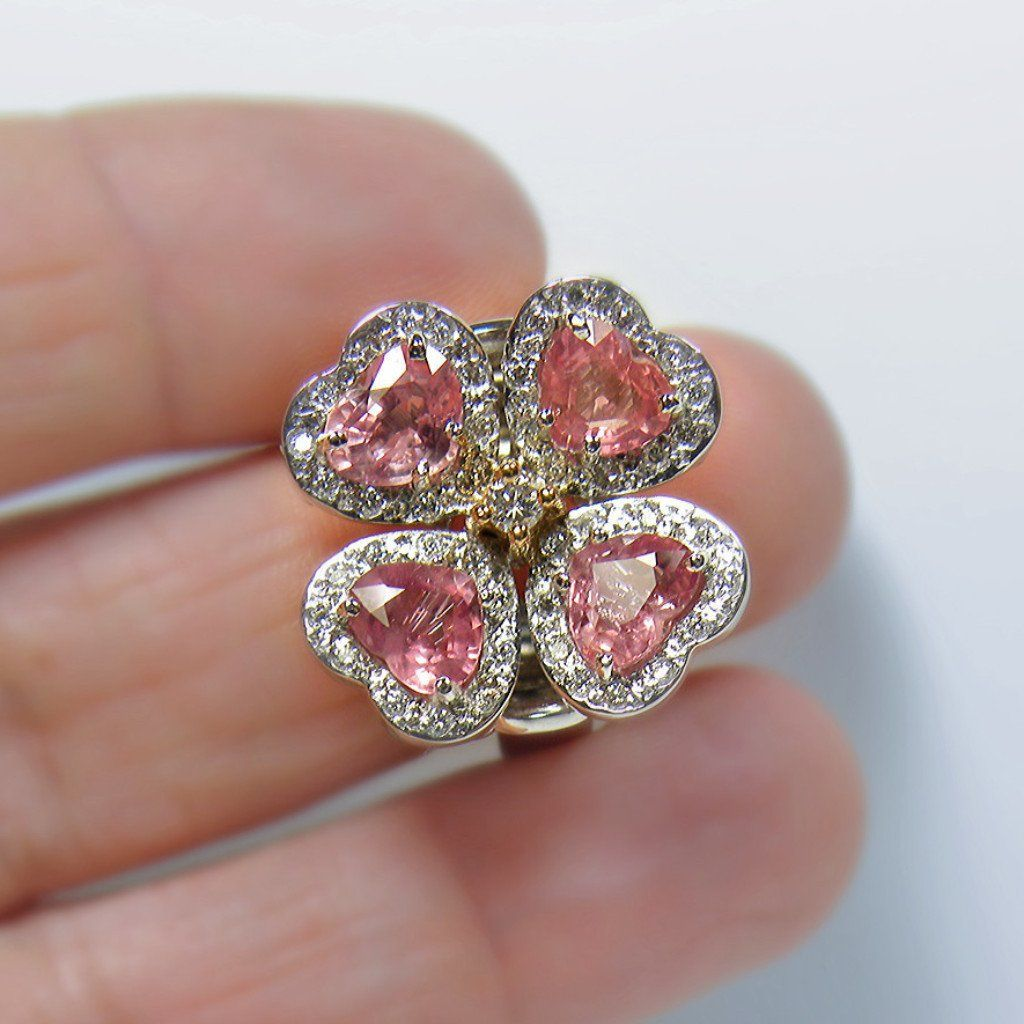 Ct untreated padparadscha sapphire u diamond ring exquisite k
