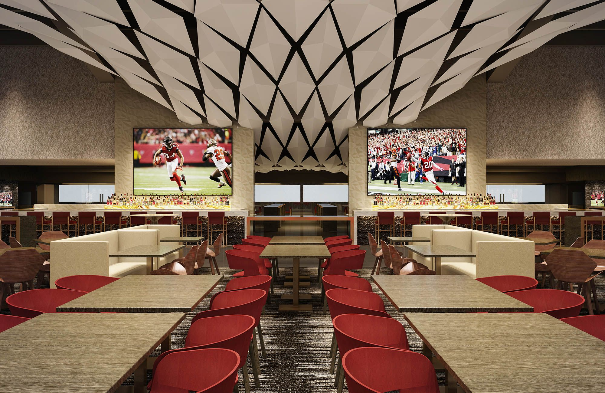 North Champions Lounge A Private Stadium Entrance From Premium Parking Takes Members Di Atlanta Falcons Football Commercial Interiors Atlanta Falcons Pictures
