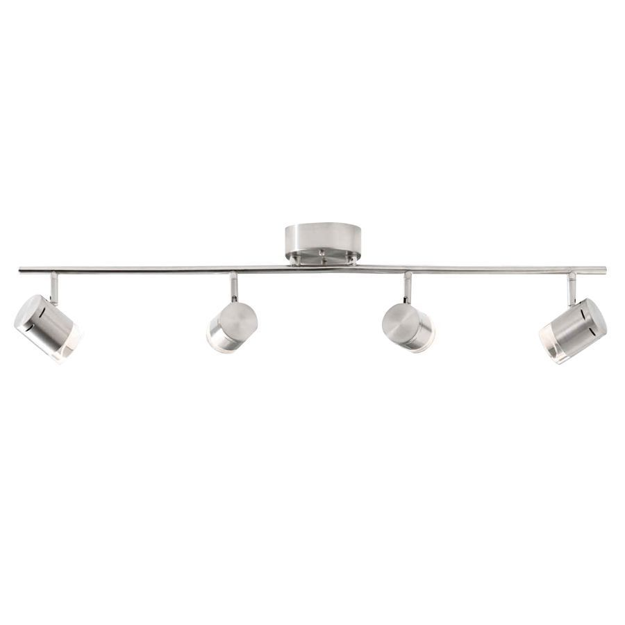 Style Selections Leyden 4-Light 29.76-in Brushed Nickel Dimmable LED ...