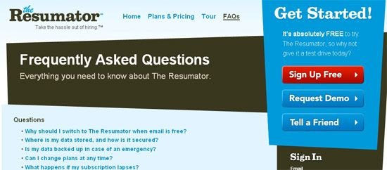 Designing Effective FAQ Pages FAQ Pages Pinterest - the resumator