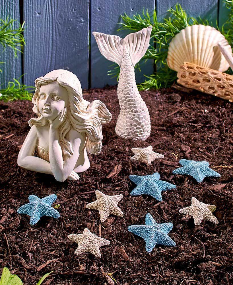 Coastal Garden Decor is part of Coastal gardens, Rustic gardens, Mermaid statues, Unique gardens, Garden art, Wooden garden planters -