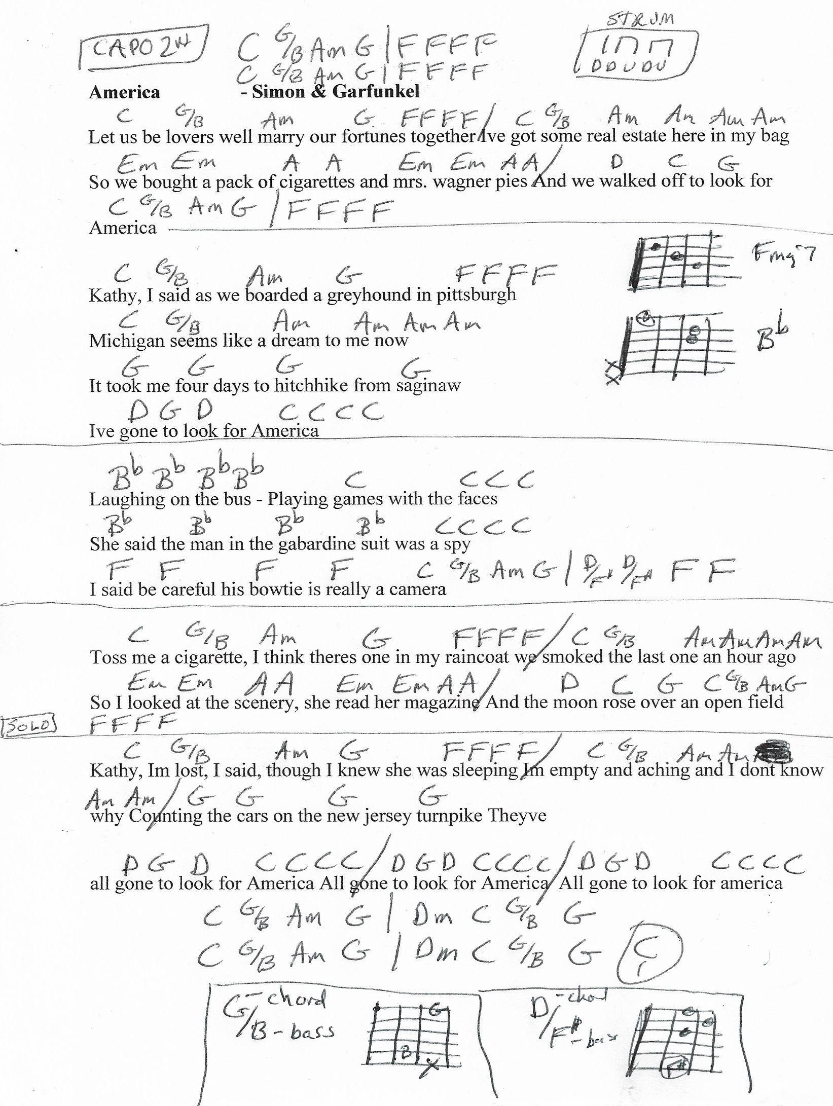 America Simon Garfunkel Guitar Chord Chart Capo 2nd 2018 Howtoreadchorddiagramschartjpg