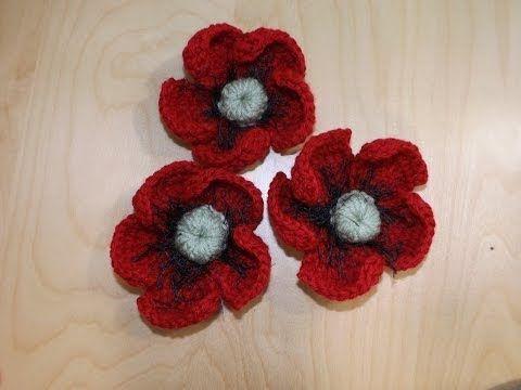 Cómo tejer una Amapola a Crochet / Tutorial | Crochet y Dos agujas ...