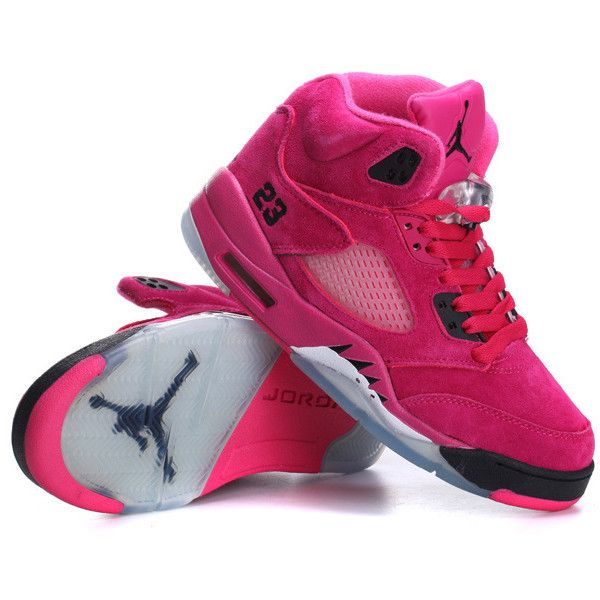 5a661a8442fd1b Women s Air Jordan 5 Suede Hot Pink Black (€72) ❤ liked on Polyvore  featuring shoes