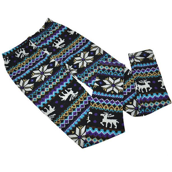 Blue Womens Reindeer Snowflake Printed Christmas Sweater Leggings ($10) ❤ liked on Polyvore featuring pants, leggings, blue, snowflake print leggings, snowflake leggings, blue pants, blue trousers and blue leggings