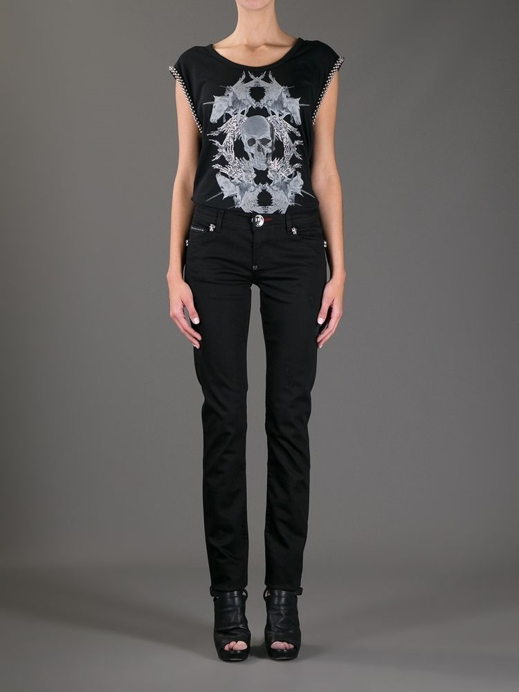 f2dd94a75a717 Philipp Plein Women s Black Skull Boot Cut Jeans Pants 24 Embellished Flare   PhilippPlein  BootCut