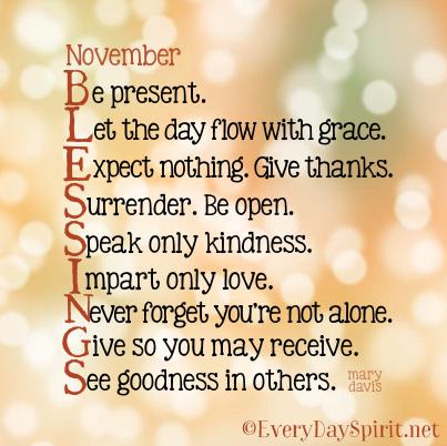 November blessings ~ #blessings everydayspirit.| Positive