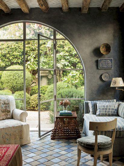 Arched doorway to garden