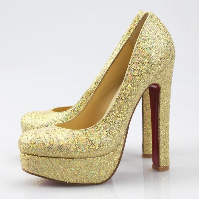 Superb Gold Glitter Heels - http://ikuzoladyshoes.com/superb-gold ...