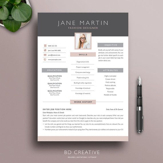 creative resume template 2 modern professional boutique style cv with photo microsoft - Fashion Design Resume Template
