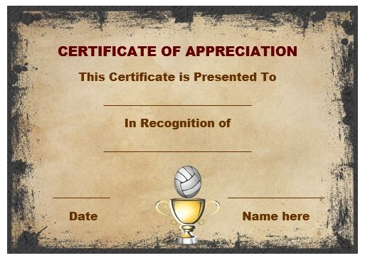 Volleyball certificate of appreciation Volleyball certificates - blank certificate of recognition