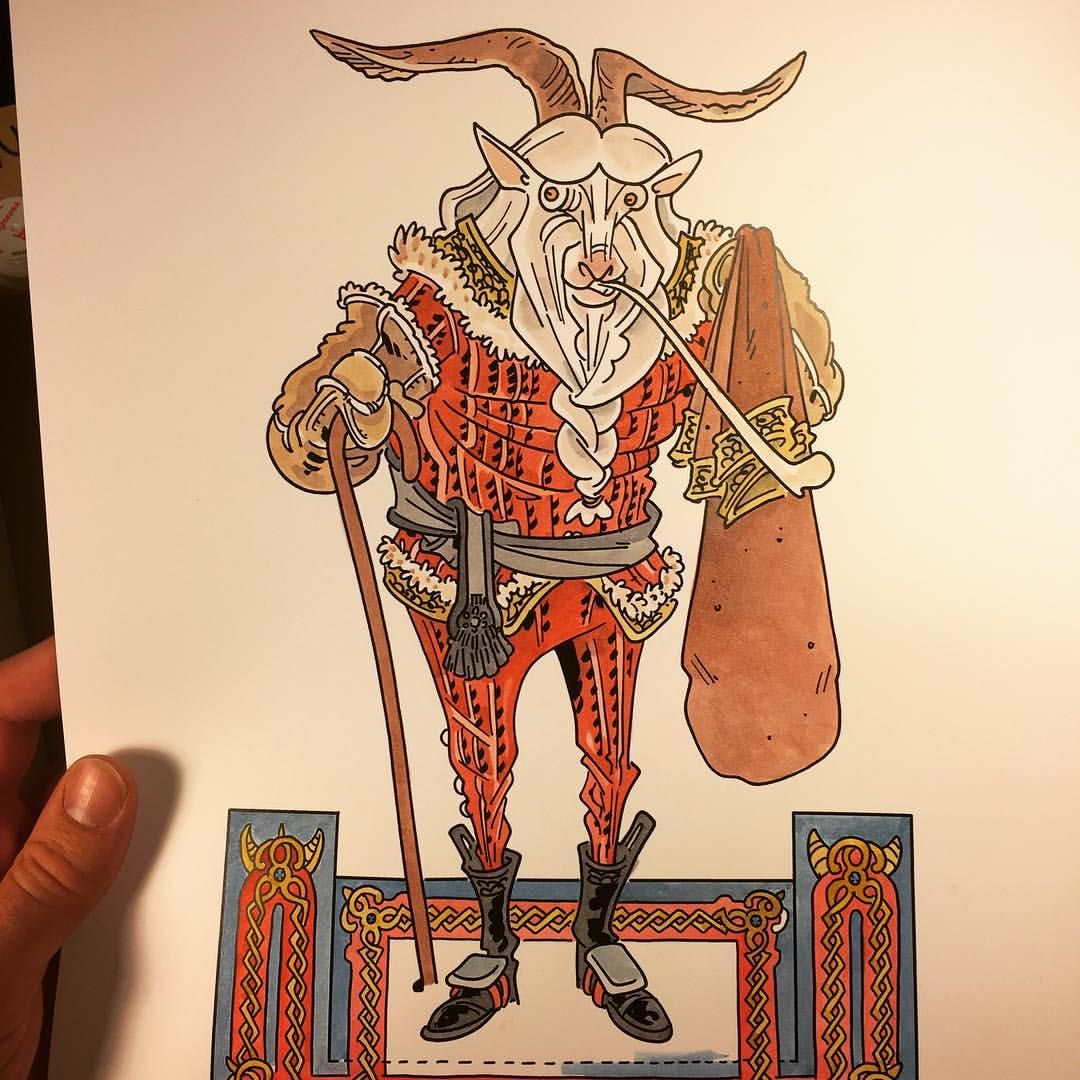 Finland Christmas Goat.Finnish Goat Santa Joulupukki All Painted Up Animals