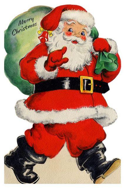 Vintage Santa 2 Vintage Christmas Cards Christmas Ephemera Vintage Christmas