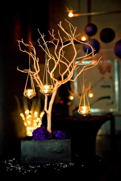 Diy manzanita centrepieces wedding black purple
