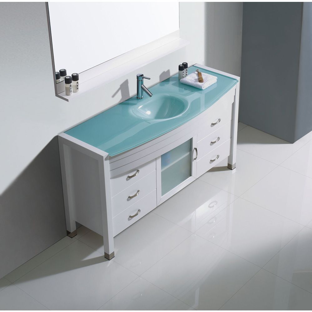 Virtu USA Ava 55-inch Single Bathroom Vanity Cabinet Set with Faucet ...