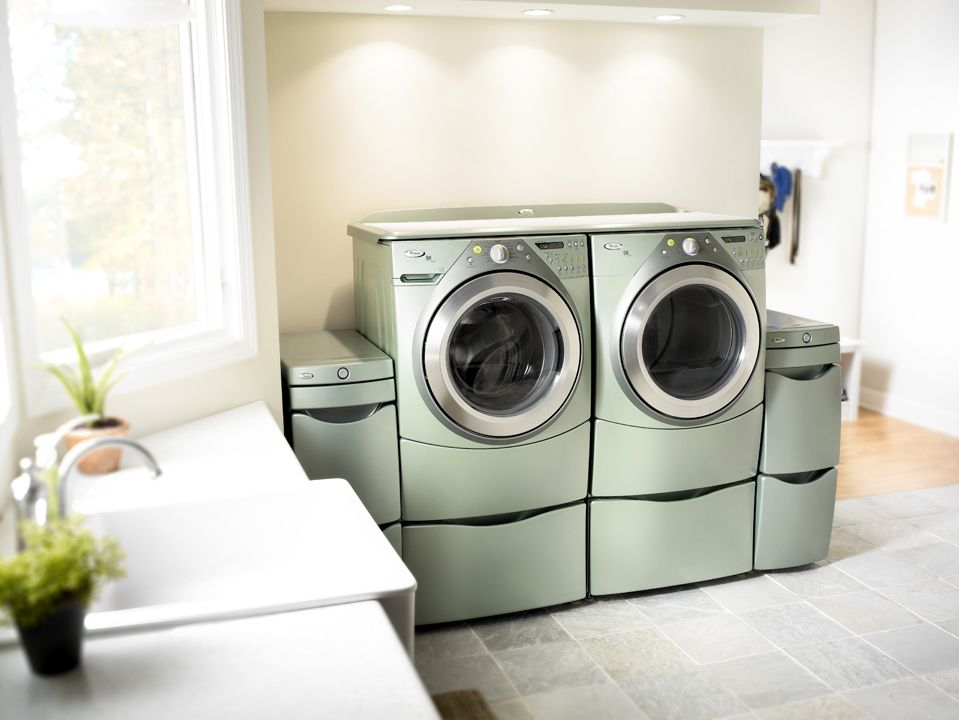 Whirlpool Duet Aspen Green Color And Laundry 123 Accessories The Worksurface On Top Had A Rubber Non Slip Mat Used For Folding Items