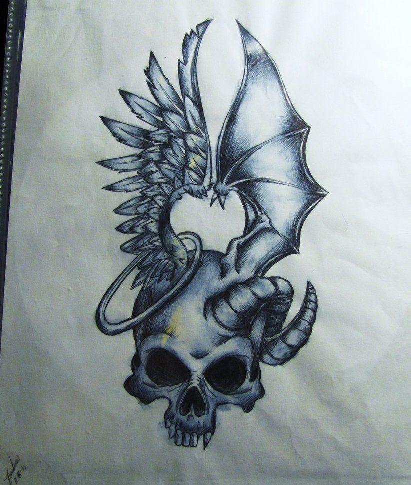 Good Vs Evil Tattoo Drawings And Filigree Tattoo Design