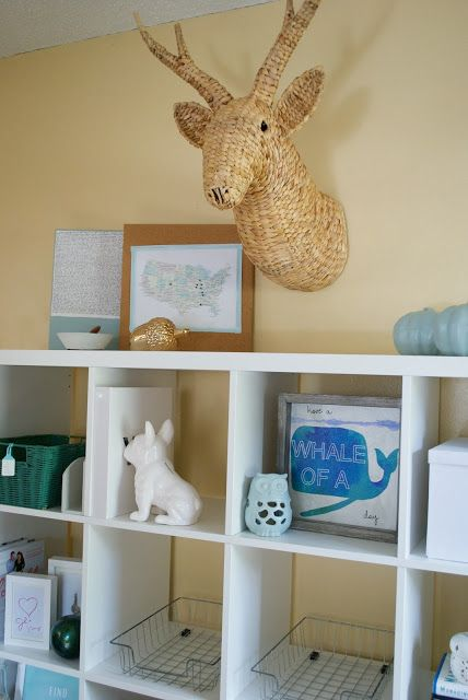 IKEA Kallax Cubicle + a Wicker Faux Deer Head from Target