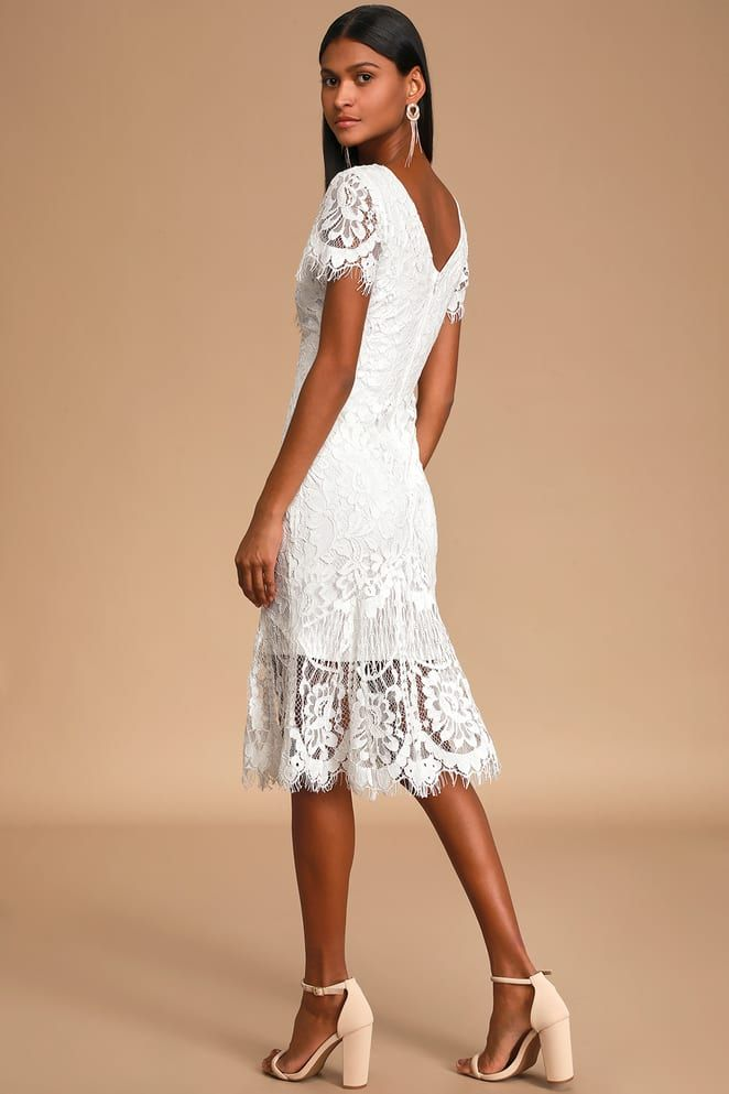 Bound To Fall In Love White Lace Midi Dress In 2020 White Lace Midi Dress Lace Beach Dress Fancy White Dress