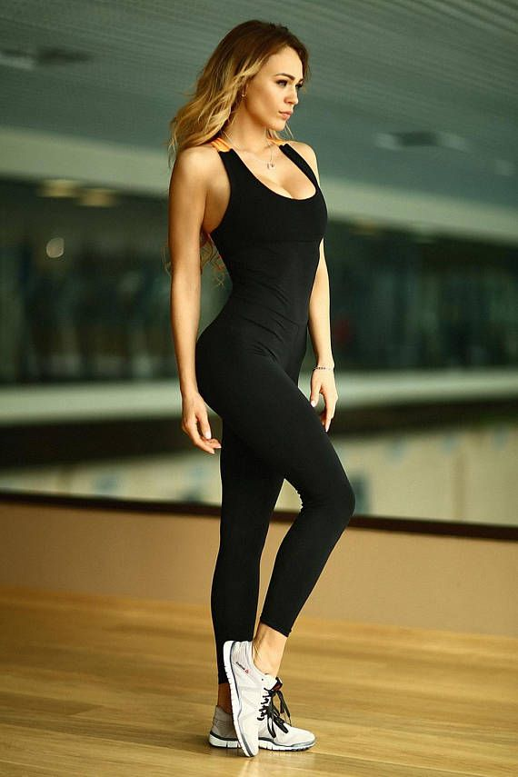 c92e1072bdf8 Black N Orange Black Unitard Bodysuit Catsuit Jumpsuit Brazilian Workout  Activewear